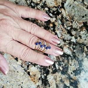 Lapis 6 Band Ring Set Sterling Silver NEW